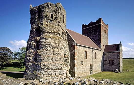 The Roman pharos and St Mary in Castro church (St Mary in the Castle) within Dover castle
