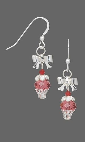 Cupcake Earrings with Swarovski® Crystal Beads and Silver-Plated Drops and Findings