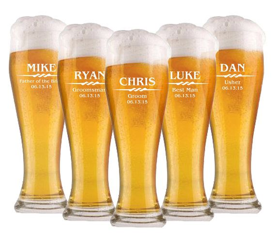 Groomsmen Gift 11 Personalized Beer Glasses by EverythingDecorated