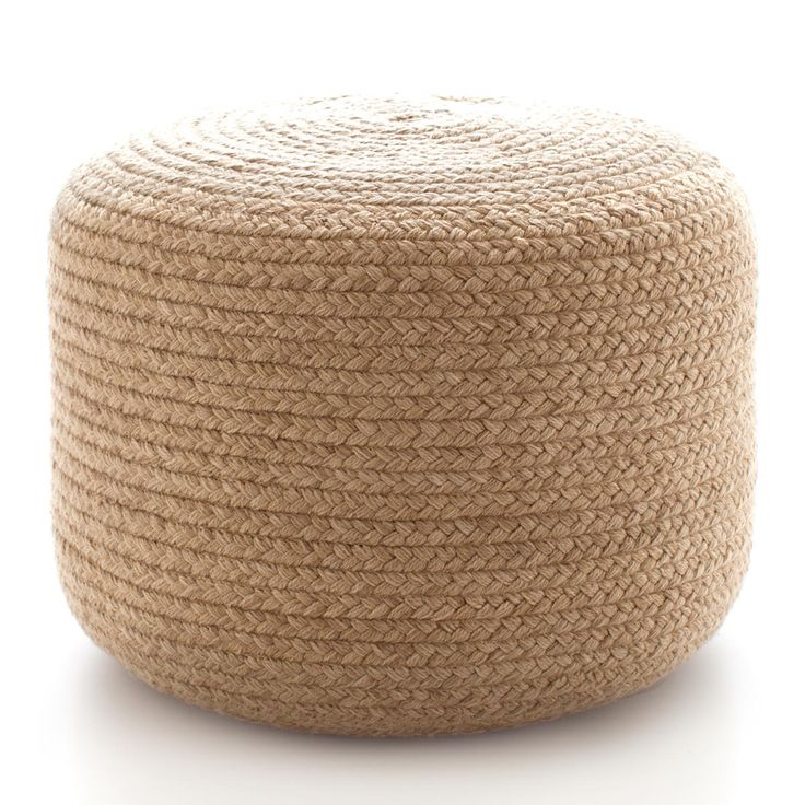 Braided natural indoor outdoor pouf ottomans front for Table basse s avec pouf