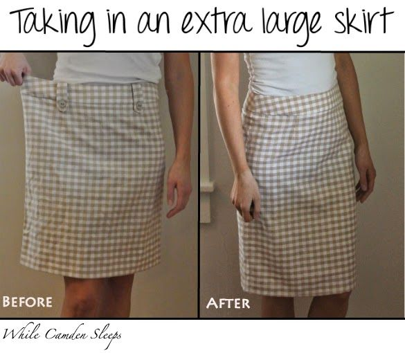 How to take in a skirt that is too big.  This one had a side zipper, so the back seam was taken in.