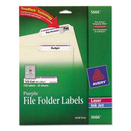 Avery Permanent File Folder Labels, TrueBlock, Inkjet/Laser, Purple Border, 750/Pack, Multicolor