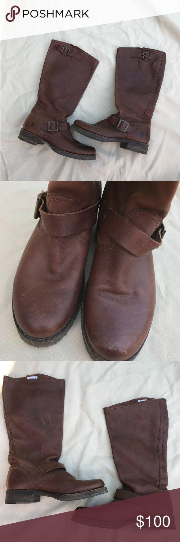 """Frye Veronica Slouch size 7.5 #77605 Frye Veronica Slouch 7.5 #77605. A tough engineer boot with a soft relaxed fit. The calf leather is hand burnished to get better with age. Unlined, leather outsole, rubber foot part. 14"""" shaft height, 14 1/3"""" shaft circumference and 1"""" heel. There are some scuffs on leather giving to the broken in look. Prong on 1 strap is broke but strap still holds in place securely. Please refer to pics. Frye Shoes"""