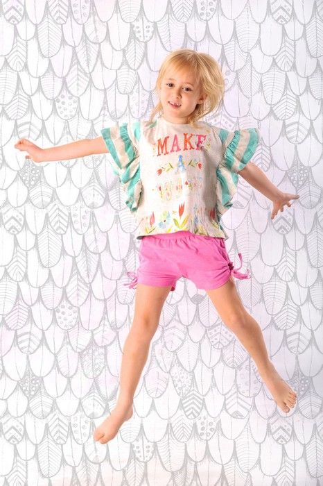 Paper Wings Summer 14Product Paper Wings Girls Shirred Drawstring Shorts ~ Pink MarleProduct code S14N460