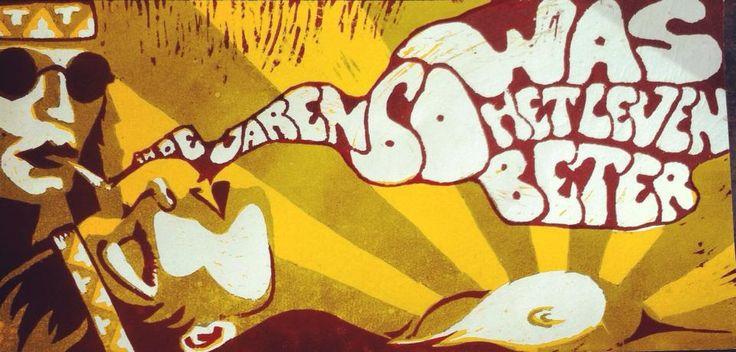 #houtsnede #woodcut #lino #linoleum #linocut #art #arte #kunst #illustratie #illustration #typography #typografie #sixties #hippie #hippies #hippy #woodstock #smoke #rook #sigarette #love #60´s