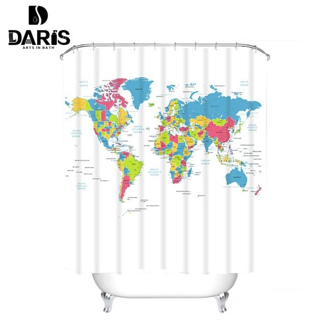 Creative Fabric Shower Curtain World Map Bathroom Waterproof Not Transparent Classic Designer Model Bath Shower Curtain White Review Fabric Shower Curtains White Shower Curtain Shower Curtain