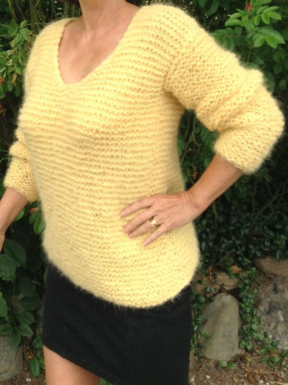 This is my new design! Handknitted sweater - blouse in a very soft yarn combination of alpaca and baby merino wool. I is shown in this beautiful yellow color, but it is possible to order in other colors. Just order in the yellow color and then write the wanted color as a comment. I have shown three colorboards, from where you must select 1 color from the first colorboard and 1 color from the 2. or the 3. colorboard, which mats. The sweater can be ordered in size S - M - L which fits a UC of…