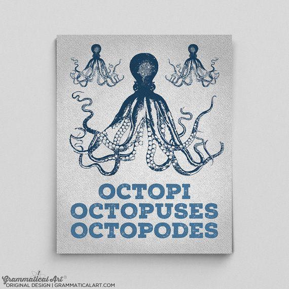 Octopus Art Octopus Print Plural of Octopus by GrammaticalArt