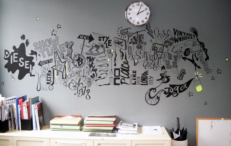 Diesel Wall Illustration Interior Wallpaper Murals