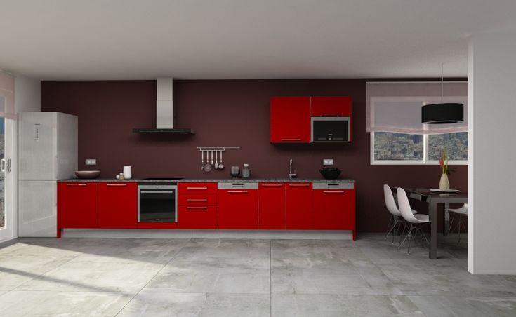 Modelo de cocina con disposici n recta y con - Ver modelos de cocinas ...