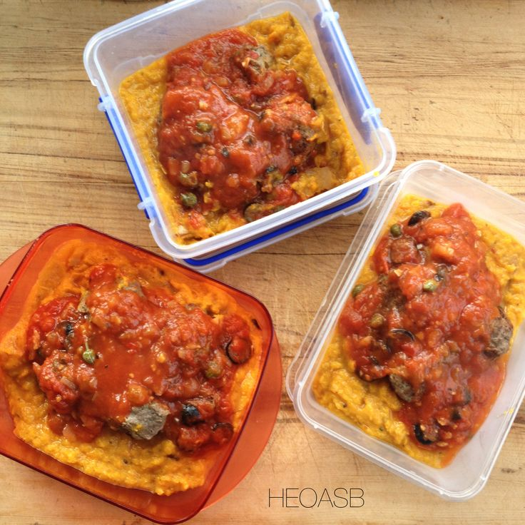 Paleo Meatballs on Butternut Mash with a tomato sauce for lunches. Find the recipe at www.facebook.com/budgethealth
