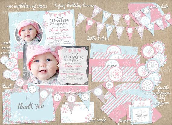Winter ONEderland Snowflake Birthday Party Package Supplies PRINTABLE- Custom Name, Banner, Invite on Etsy, $25.00