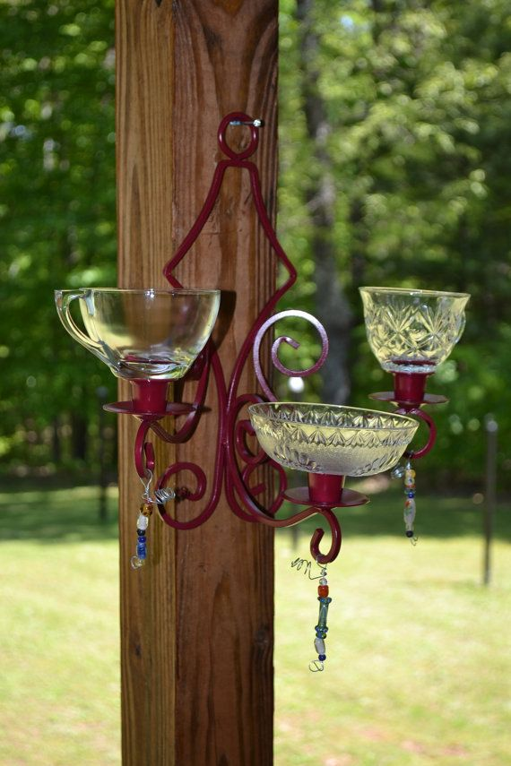 Bird feeder upcycled shabby chic red glass recycle for Upcycled bird feeder