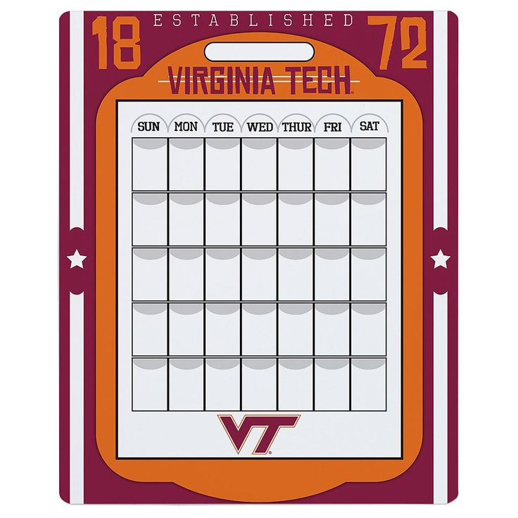 Virginia Tech Hokies Dry Erase Calendar, Multicolor