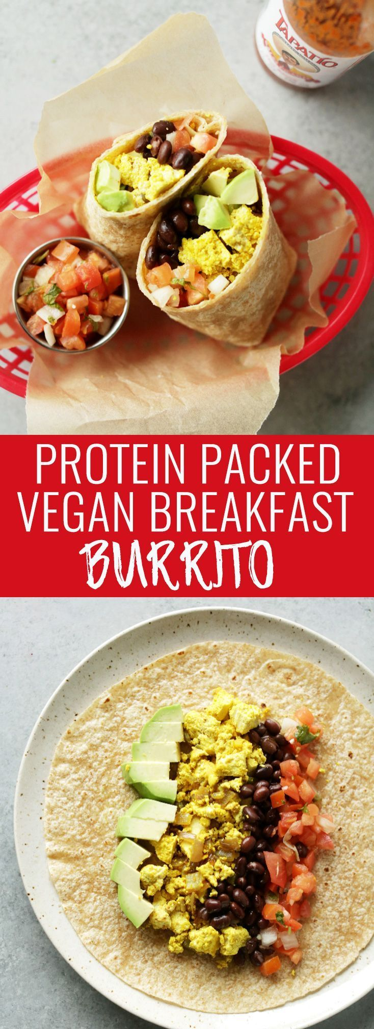 The ultimate protein packed (32 grams!) vegan breakfast burrito! 20-minutes to make, hearty and super tasty. Make ahead of time for an easy & healthy breakfast! Nutritionalfoodie.com