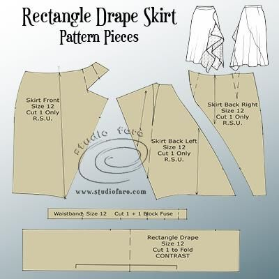 For this #PatternPuzzle post you have an elegant Drape Skirt that can be cut from a basic skirt block or any pencil skirt pattern. I've included some interesting seaming that works well with the drap