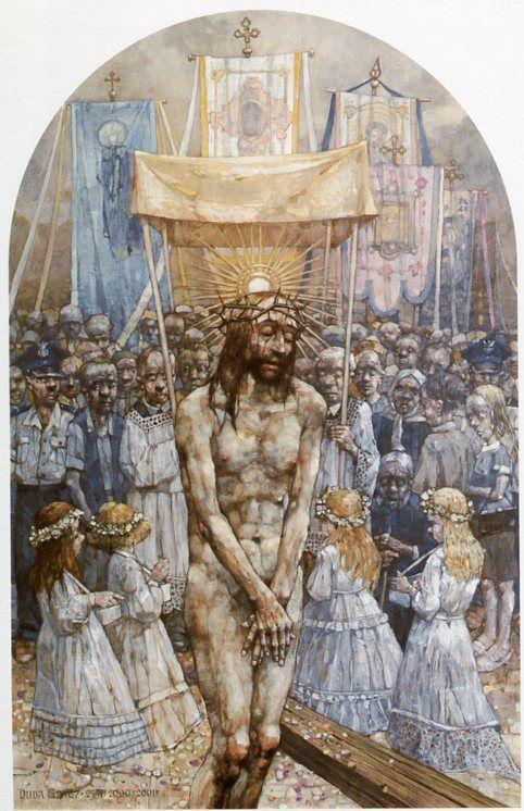 X Estación. Cristo es despojado de sus vestiduras. Gólgota de Jasna Góra, del pintor polaco Jerzy Duda Gracz