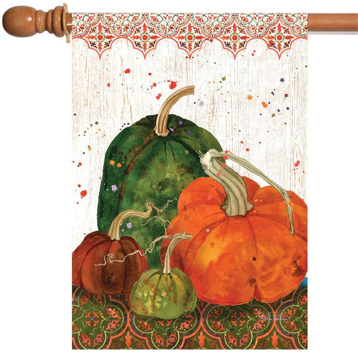 NEW Toland - Gordgeous - Fall Autumn Orange Green Pumpkin Gourd House Flag #TolandHomeGarden