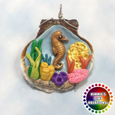 Polymer Clay Shell Sea Horse Coral Anemone - Cake Toppers, Jewelry Pendants, Ornaments, Figurines, Characters, Sculptures, Miniatures - Cute Collectible Whimsical - Kimmie's Clay Kreations