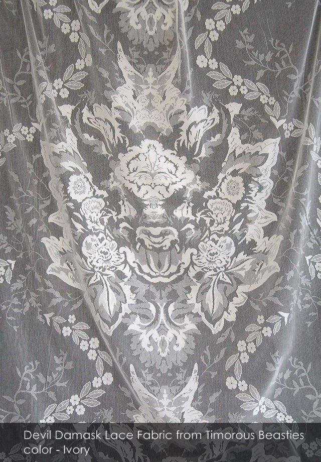 Devil Damask Lace fabric from Timorous Beasties in Ivory