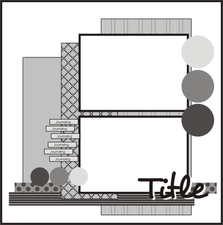 2 horizontal photos scrapbook page layout sketch / map
