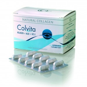 COLVITA 60    Unikalny kompleks liofilizatu czystego kolagenu z dodatkiem ekstraktu z alg morskich i naturalnej witaminy E.         Skład: algi (Fucus vesiculosus), kolagen rybi, witamina E, elastyna, kwas mlekowy, żelatyna (powłoka kapsułki), liofilizat cytrynowy.  http://sklep.icolway.eu/pl/20-colvita-60.html