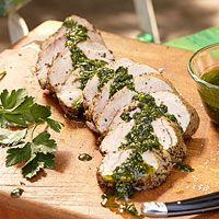 Pork Tenderloin with Garlic-Herb Sauce - THE best way to make pork tenderloin. the sauce i make extra and use for marinating chicken or fish