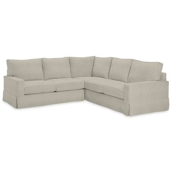 Pottery Barn PB Comfort Square Slipcovered 3-Piece L-Shaped Sectional ($3,845) ❤ liked on Polyvore featuring home, furniture, sofas, pottery barn sofa, pottery barn furniture, l shaped couch, slip cover couch and l shaped sofa