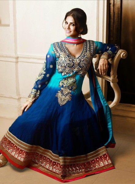 Buy Bollywood Blue Designer Sunny Leone Anarkali $72.59   Buy at - bollywood-ankle-length-anarkali.blogspot.co.uk/2014/06/buy-bollywood-blue-designer-sunny-leone.html