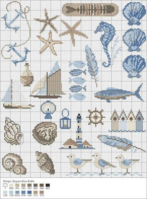 Free cross stitch patters involving ocean themes. Delicious.