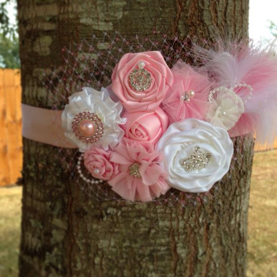 Beautiful Pink and White Maternity Sash on Etsy, $35.00