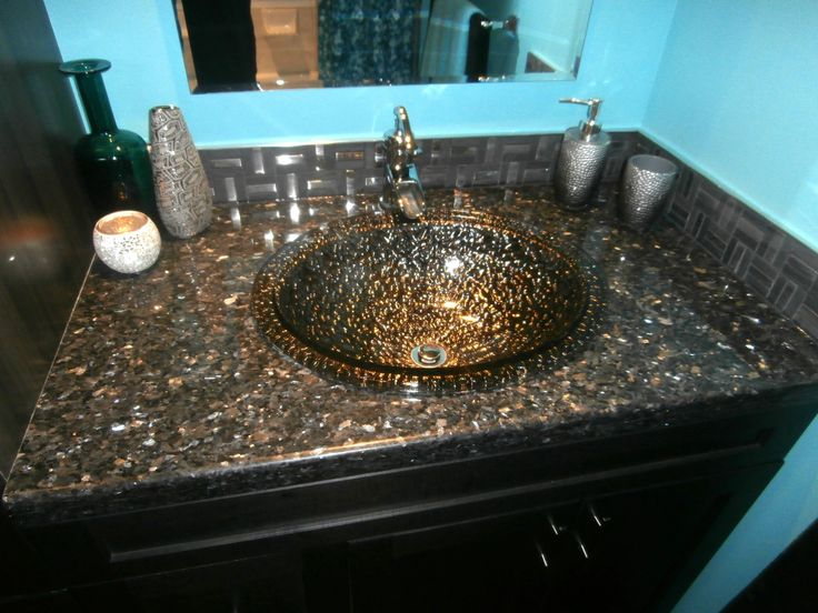 Zambukka Charcoal Cabinetry Blue Pearl Granite Pebble Glass Sinks Black Nickel