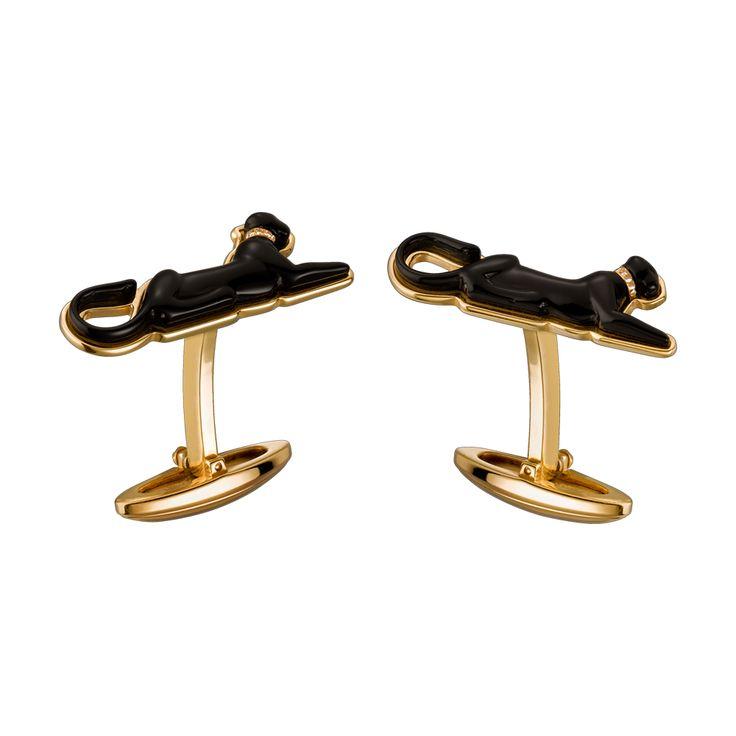 Cartier Lying Panther gold cufflinks