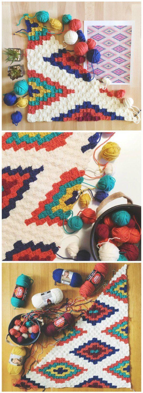 Free crochet pattern. Southwestern style corner to corner crochet throw blanket pattern with graph. C2C