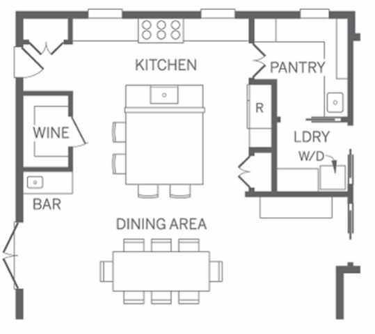 Layout with walk in pantry laundry room but other side