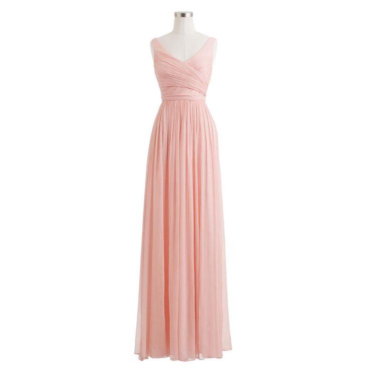 J.Crew HEIDI LONG DRESS IN SILK CHIFFON Misty Rose Size10 #JCrew #Formal