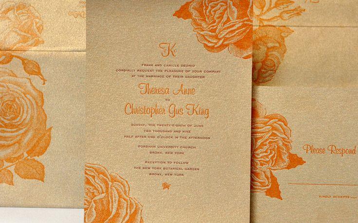 orange gold square wedding invitations 3