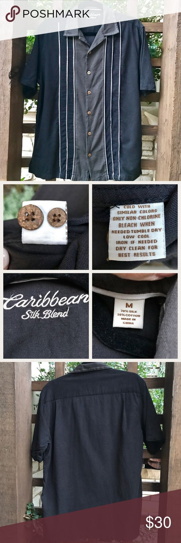 """Men's """"COOL"""" Caribbean Silk Blend Shirt NWOT Super Lightweight Retro Black Caribbean Silk Blend Shirt. NWOT. Size Med. Unique detailed stitching! Caribbean Shirts Casual Button Down Shirts"""