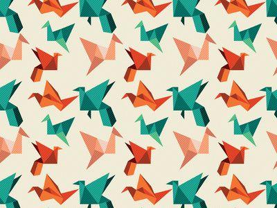 origami crane pattern