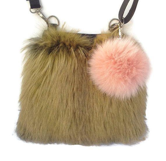 FREE SHIPPING Fox Fur Crossbody Bag handbag by TrixiCookies
