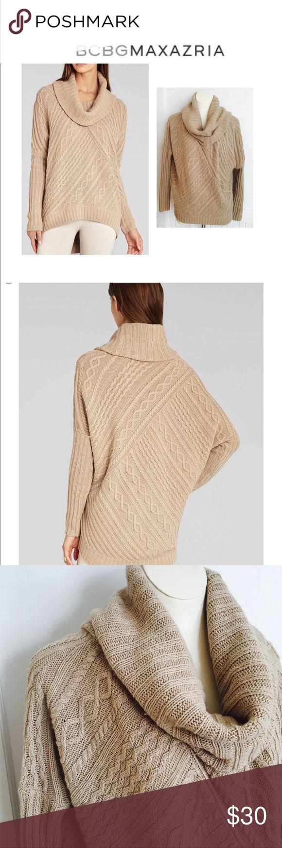 BCBG Linden Cowl Neck Oversized Sweater Cowl neck cable knit pullover. Quite oversized without much structure (slouchy) and you should be able to size down. Color is in between stock and my own and very neutral. Extra room up top to accommodate larger busts. Has been in dryer with Dryel but not yet dry cleaned. Great preloved condition (few pulls or pills) nothing noticeable when worn BCBGMaxAzria Sweaters Cowl & Turtlenecks