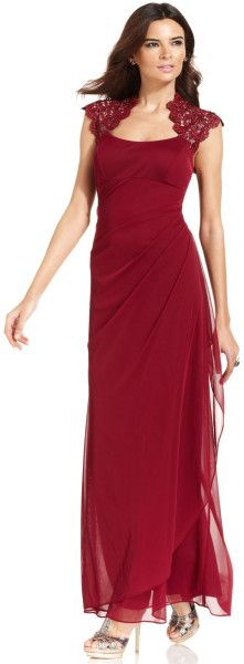 Xscape Dress Sleeveless Metallic Lace Gown in Red