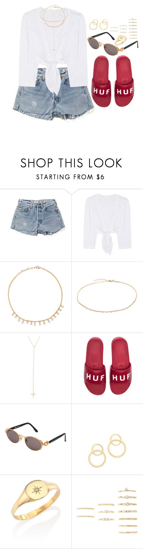 """""""Catch up"""" by liberhty ❤ liked on Polyvore featuring Lisa Marie Fernandez, Jacquie Aiche, HUF, Jean-Paul Gaultier and Forever 21"""