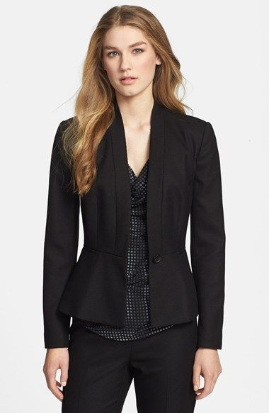 Free shipping and returns on Halogen® Diamond Stretch Peplum Jacket at Nordstrom.com. A textured stretch-woven suiting jacket streamlined with no lapels is tailored with a peplum hem for a figure-flattering silhouette.