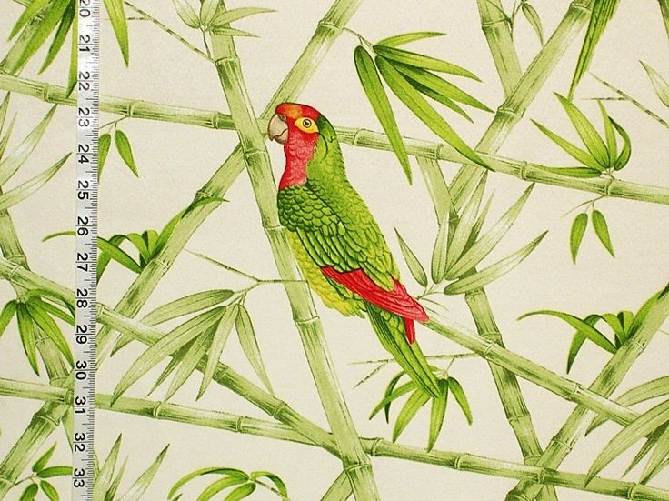Parrot fabric tropical green bamboo from Brick House Fabric: Novelty Fabric