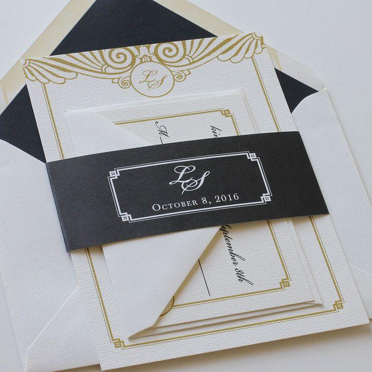 Art Deco Wedding Invitation, Gold & Black Wedding Invitation, Bold Unique Gatsby Wedding Invitation - Sample  (Free Shipping) by blushpaperie on Etsy https://www.etsy.com/listing/207124377/art-deco-wedding-invitation-gold-black