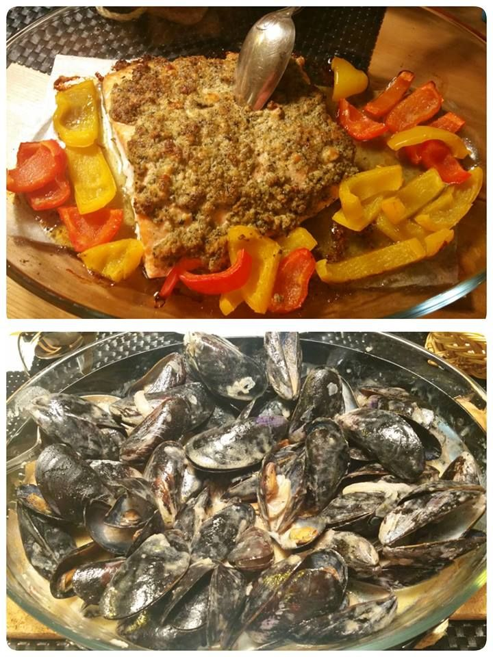 baked lax and mussels boil in a wine