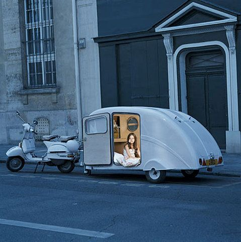 a scooter & a trailer so cool - repin and share by Lela Rose Vintage www.facebok.com/lelarosevintage