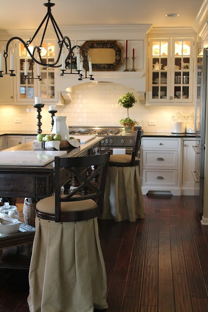 Really like the long draping of the burlap on the bar stools ~ C.: Stove Hoods, Lights Fixtures, Kitchens Inspiration, Kitchens Ideas, Range Hoods, Bar Stools, White Cabinets, French Country Kitchens, White Kitchens