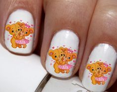 20 pc Valentines Day Teddy Bear Love Kissing Bears Hearts Nail Art Nail Decals Nail Stickers Lowest Price On Etsy #cg7379na6